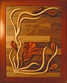 Woods: Bubinga, Maple, Walnut, Bloodwood This flower is not defined, it is 100% a product of my imagination.
