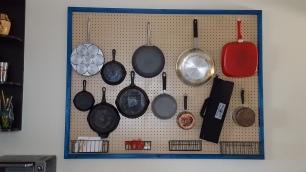 Kitchen pegboard storage, inspired by Julia Child's kitchen layout.